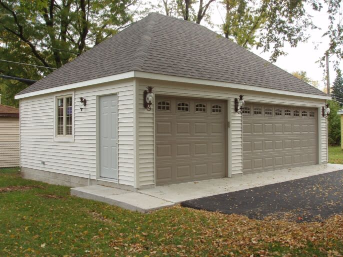 Example of 2 car detached garage with hip roof.
