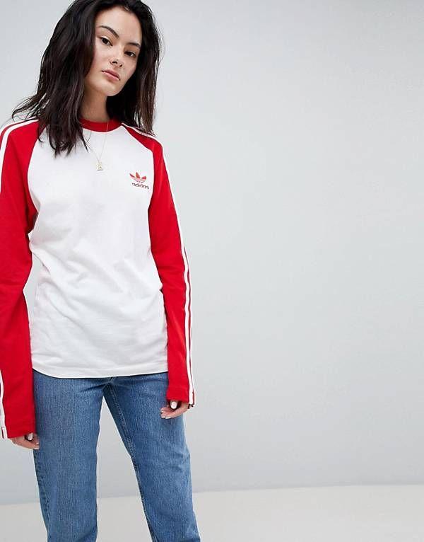 d831cfbec6f7 adidas Originals adicolor Three Stripe Raglan Top In Red ...