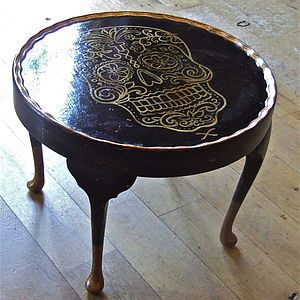 Golden Skull Occasional Round Table - furniture