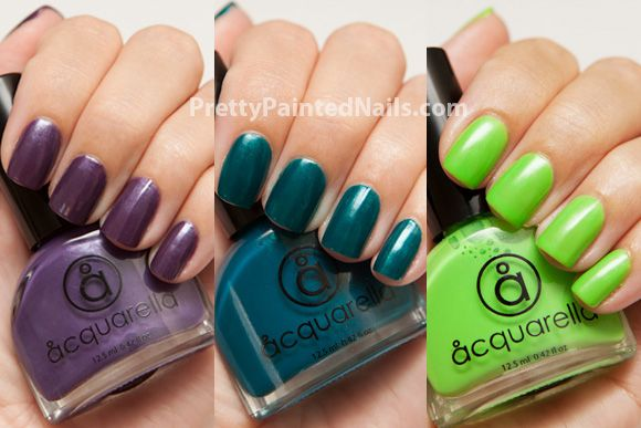 Summer Nail Polish Colors from Acquarella Water Based Nail Polish  http://prettypaintednails.com/water-based-nail-polish/acquarella-swatches-summer-colors-2012/
