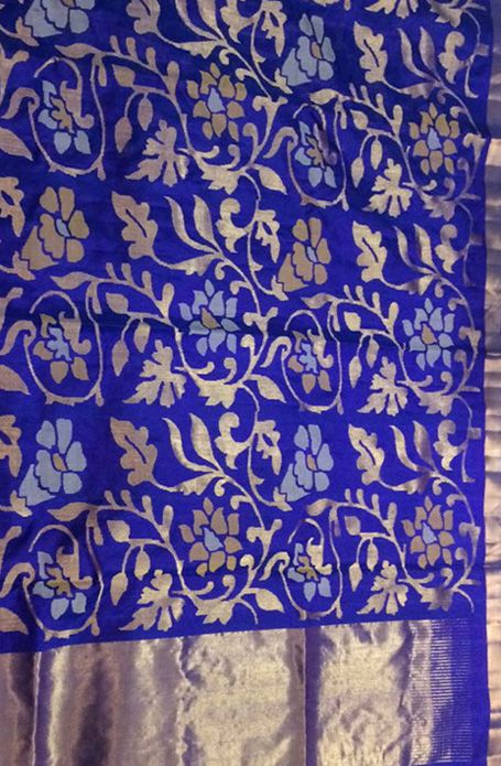 Blue Pure Silk Weaved Uppada Jamdani Weaving Saree