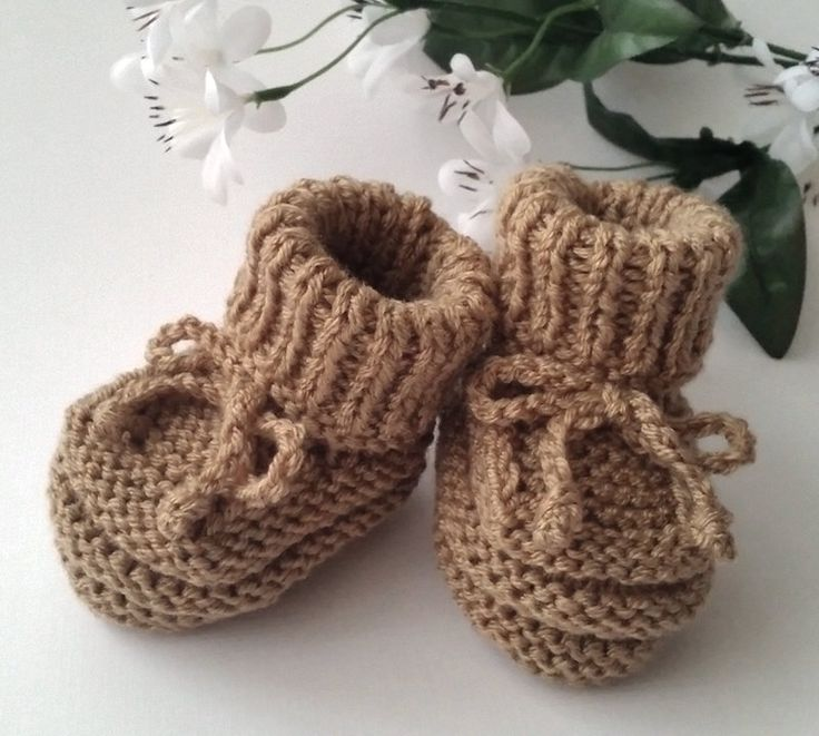 Brown Baby Booties, Hand Knitted Baby Booties, Brown Crib Shoes, Baby Shower Gift, Pregnancy Reveal Booties, Newborn Booties, Baby Clothes by FirstStepBabyBooties on Etsy