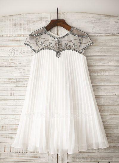 [R$ 268.24] Vestidos princesa/ Formato A Coquetel Vestidos de Menina das Flores - Tecido de seda Manga curta Decote redondo com Strass (010105751)