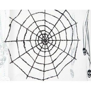 Déco toile d'araignée géante en métal pnoir pailleté, toile d'araignée à suspendre pour déco Halloween ou Fête gothique.