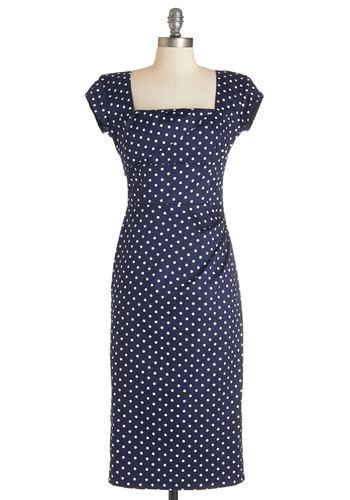 Styling Speech Dress in Dots - Blue, White, Polka Dots, Work, Casual, Shift, Cap Sleeves, Knit, Better, Ruching, Variation