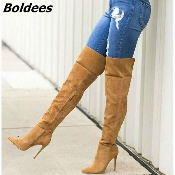 37e9790d770 Awesome Women Chic Solid Brown Suede Knee High Stiletto Heel Boots Sexy Pointed  Toe Side Zip