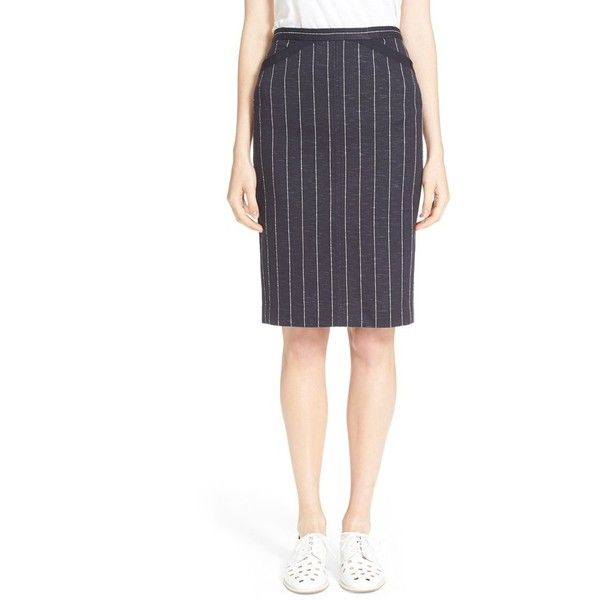 ATM Anthony Thomas Melillo Stripe Pencil Skirt ($146) ❤ liked on Polyvore featuring skirts, navy stripe, navy blue pencil skirt, white striped skirt, navy striped skirt, pencil skirts and pinstriped skirts