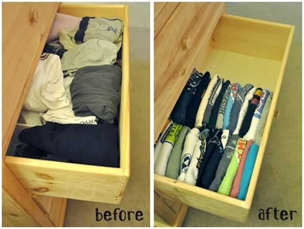 Fold your shirts vertically to save space and maximize visibility.  | 20 Simple Tricks To Make Spring Cleaning So Much Easier