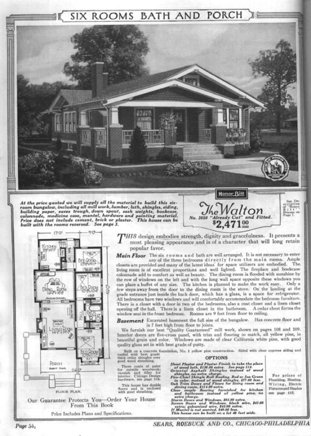 Sears bungalows for sale 1921 catalog house plans house for Old blueprints for sale