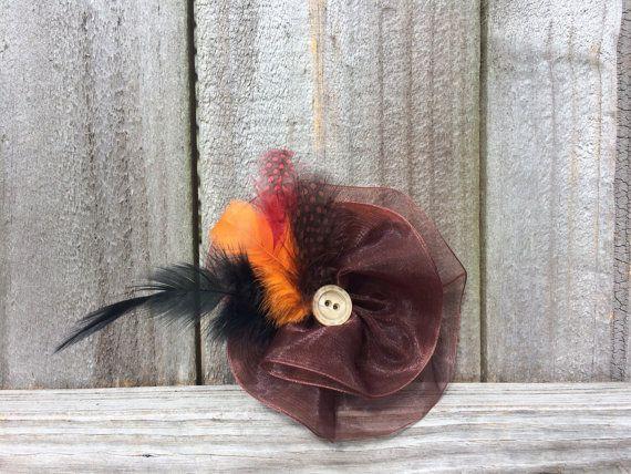 Thanksgiving Hair Bow, Fall Hair Clip, Autumn Hair Accessories by BowtotheHair
