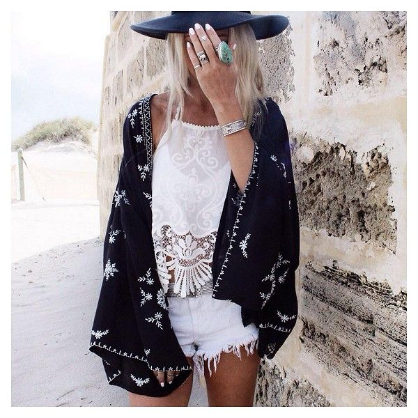 freepeople:  Embroidered Kimono Jacket styled by gypsylovinlight on FP Me.