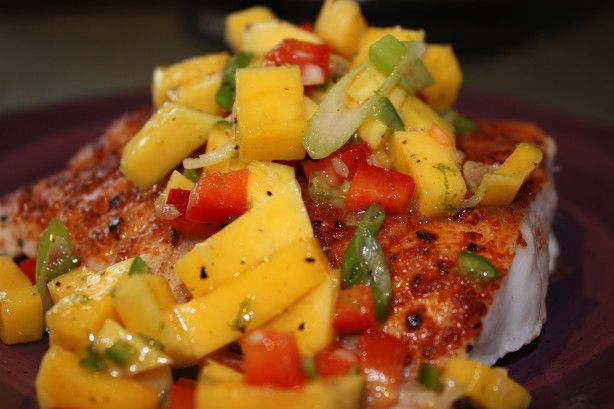 A different, wonderful flavor for a firm, white fish. You can use red snapper, grouper or trigger fish.  The mango salsa is excellent with chicken as well.