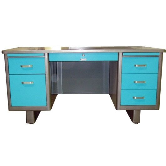 "Shown Here is a Holga 60"" Airliner Tanker Desk with a Brushed Steel Frame and Light Blue Drawers. Also Made by McDowell & Craig. These desks can be painted ..."