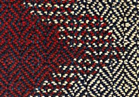 """Another interesting design approach, a kind of """"hatching"""" appears, as in traditional tapestry. Pairs of wefts alternate over short distances, to produce transitional areas of horizontal lines between adjoining color areas."""