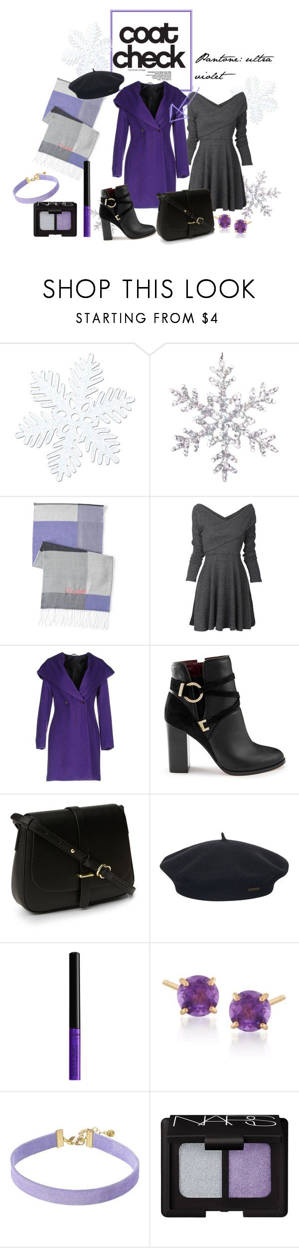 """ultra violet statement coat"" by ornella-basso on Polyvore featuring moda, Lands' End, Carla G., Miss Selfridge, Element, NYX, Ross-Simons, Vanessa Mooney, NARS Cosmetics e Winter"