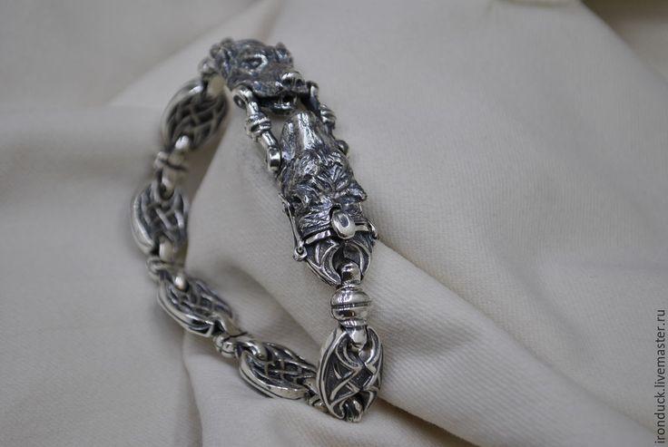"""Купить """"Бешеные псы"""" - мужской браслет, серебряный браслет, мужское украшение, собаки, серебряные украшения"""