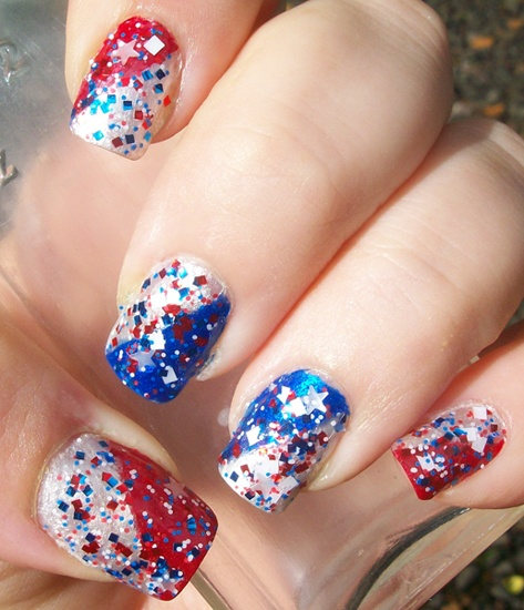 Vivid Lacquer's Paint Me Patriotic over WnW Red Red, WnW ...