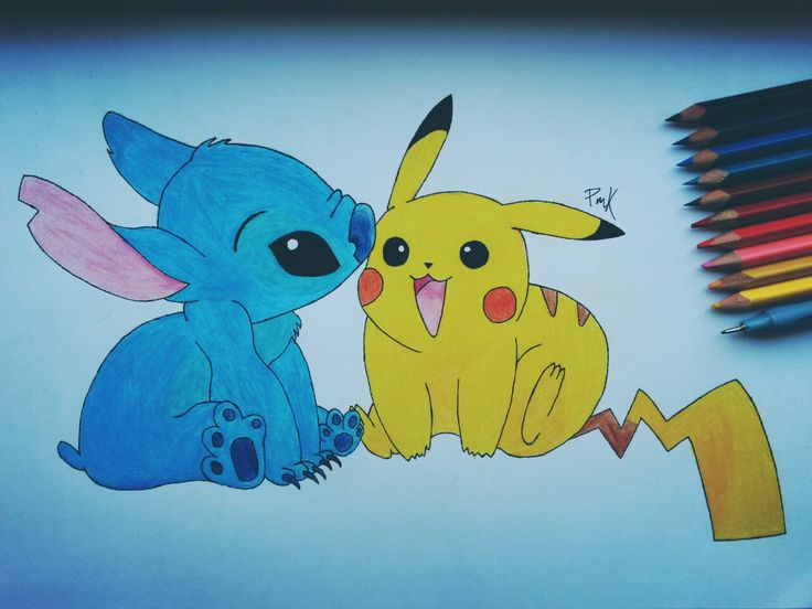 It's completed  Stitch & Pikachu ✏ #pikachu #stitch #pikachuandstitch #pokemon #liloandstitch #kawaii #friendship #true #love #bestfriendsforever #BFF #cute #ilovetheir #draw #drawing #art #paper #painting #blackandwhite #colour #yellowandblue