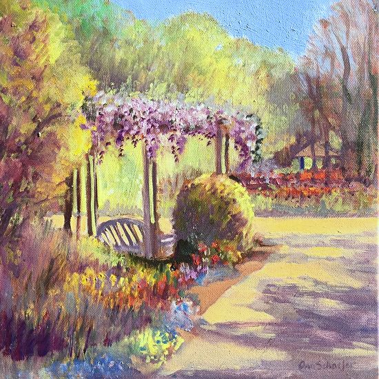 Wisteria Arbor, Late Afternoon by Ann Schaefer Oil ~ 12 x 12