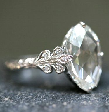 CLASSIC! Platinum / Diamond 3.78ct Rose Cut Oval Diamond One-of-a-Kind Ring... better in yellow or rose gold.