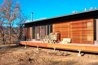 exterior shades, large overhang for shade
