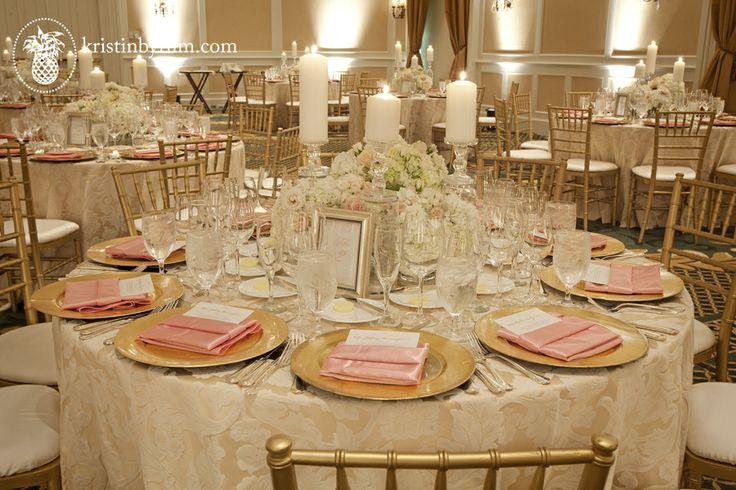 The Ballantyne Hotel, Carolina Wedding Design, Blush, gold, ivory with candles, gold chaivari chairs, cream textured linens, ivory and blush...