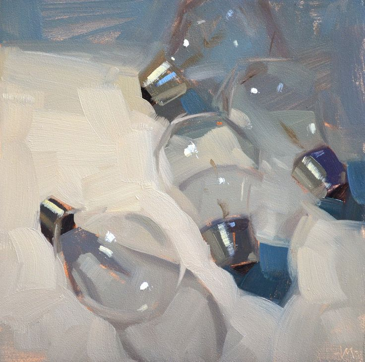 Carol Marine's Painting a Day birdview of houses blowing soap bubbles on the snow, morning