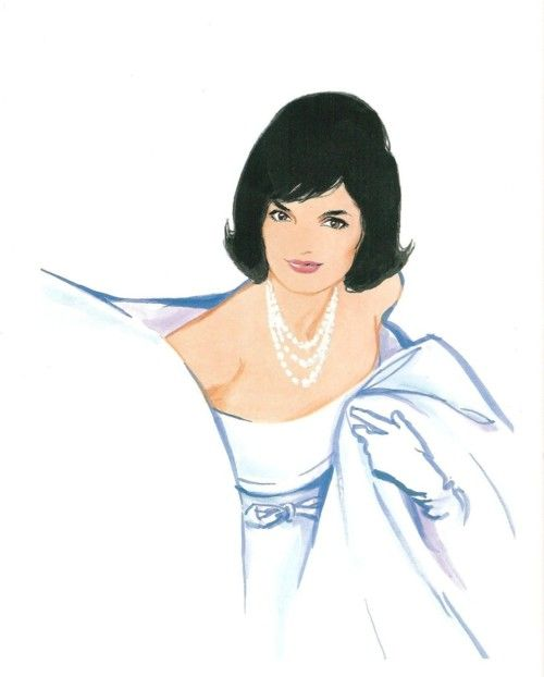 Jackie's portrait drawn by her fashion designer Oleg Cassini ~ wow. looks just like her.