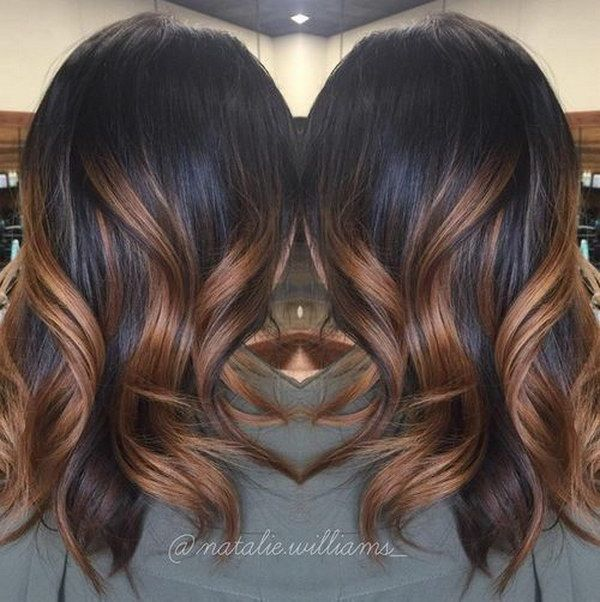 Black Hair with Caramel Ombre Highlights.