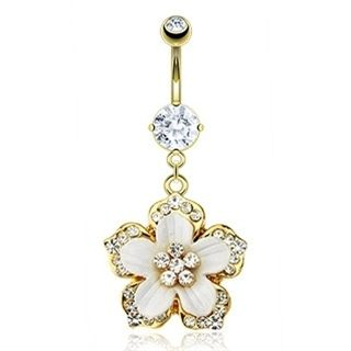 Gold Plated Belly Ring Hawaiian Flower | Pinterest Most Wanted