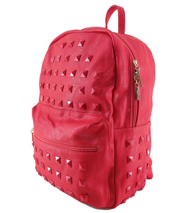 Mochila feminina de couro ecológico, vermelha. Para carregar notebook, cadernos, roupas e tudo o mais que vc precisar. http://lojadibella.com.br/d/103/Bolsa+Mochila  #mochila #mochiladecouro #mochilafeminina #lojadibella #bag #backpack Mochila, mochila de couro, mochila feminina.