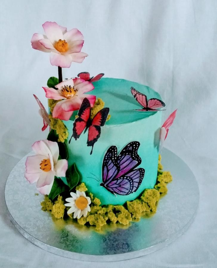 Tremendous Butterfly Cake By Alenascakes With Images Butterfly Birthday Personalised Birthday Cards Beptaeletsinfo