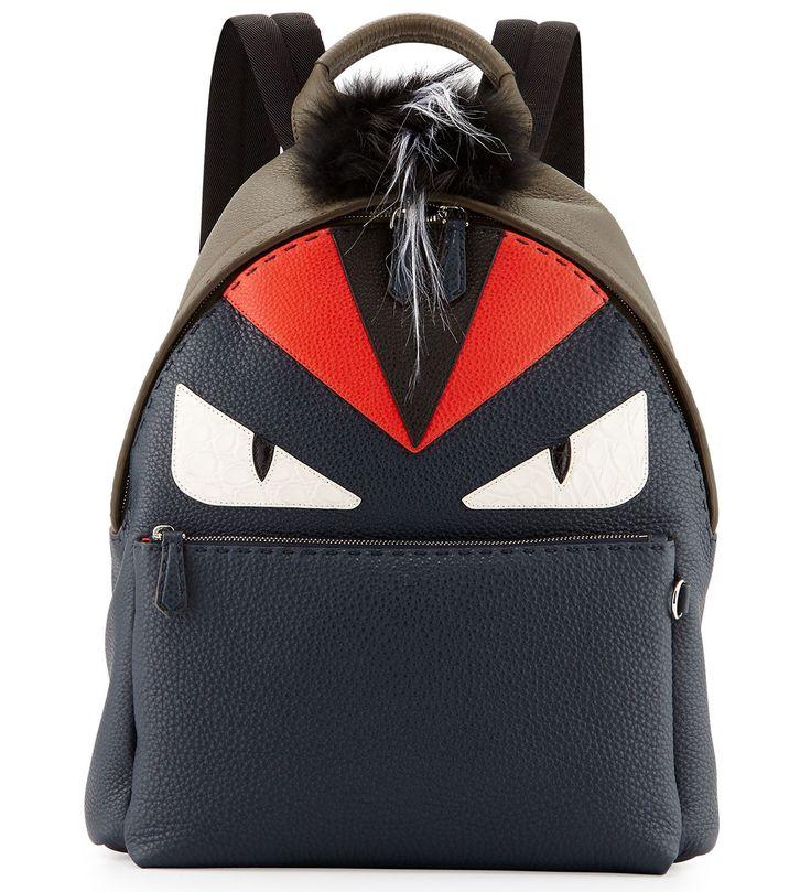Fendi Monster Backpack with Fur Crest Gray              $289.00