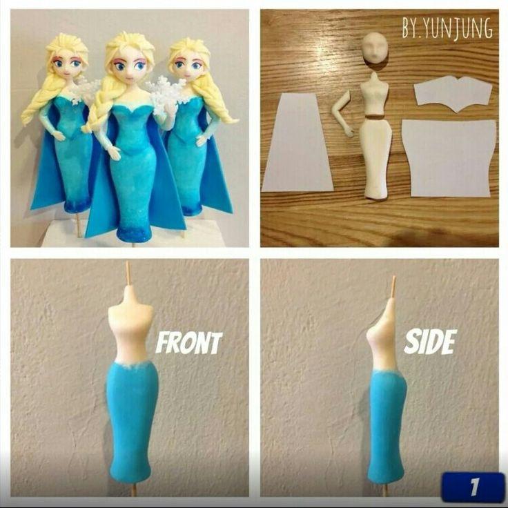 Disney Frozen Elsa Fondant Figurine Tutorial cake