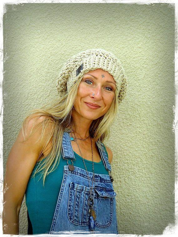 Beige cotton SLOUCHY Beanie hat crochet slouch hat por GPyoga