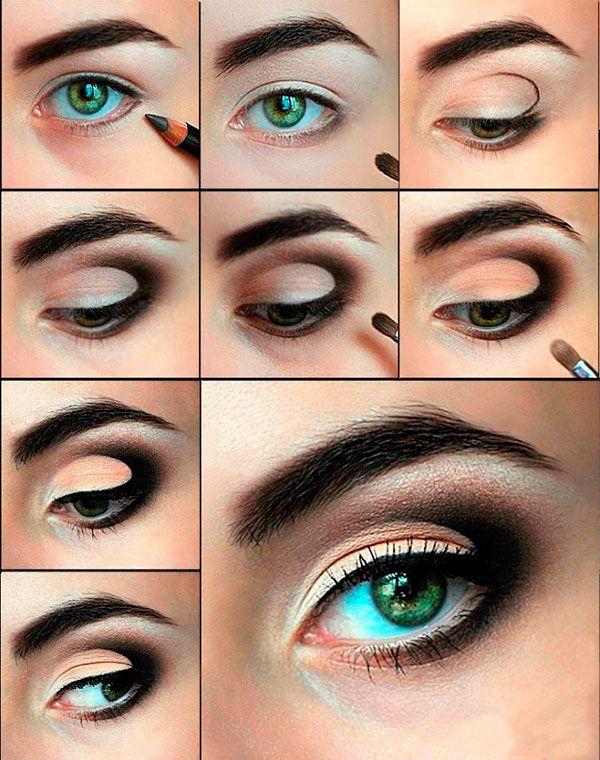 Макияж для нависших век - пошаговое фото + видео | LadyWow.ru -  Вечерний макияж для зеленых глаз