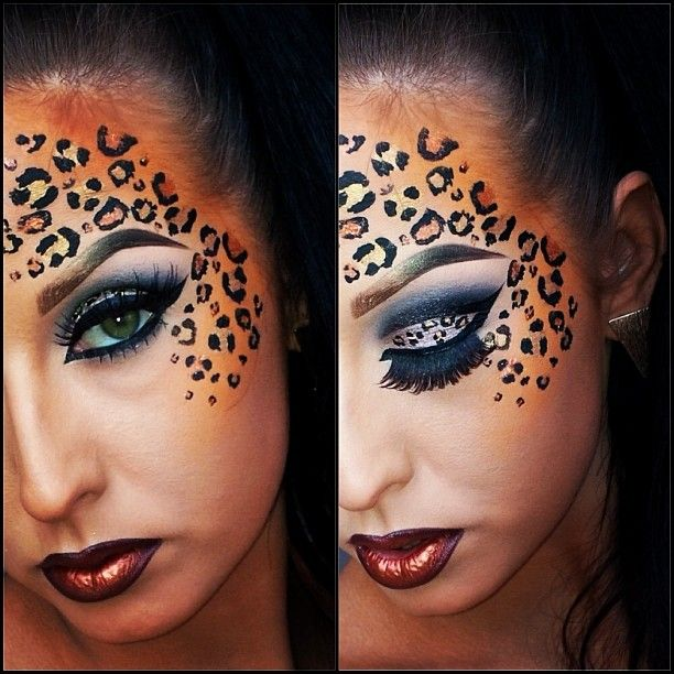 Cheetah Halloween makeup. @Leslie Lippi Lippi Lippi Riemen Guidry I want you to do this for me on Halloween!