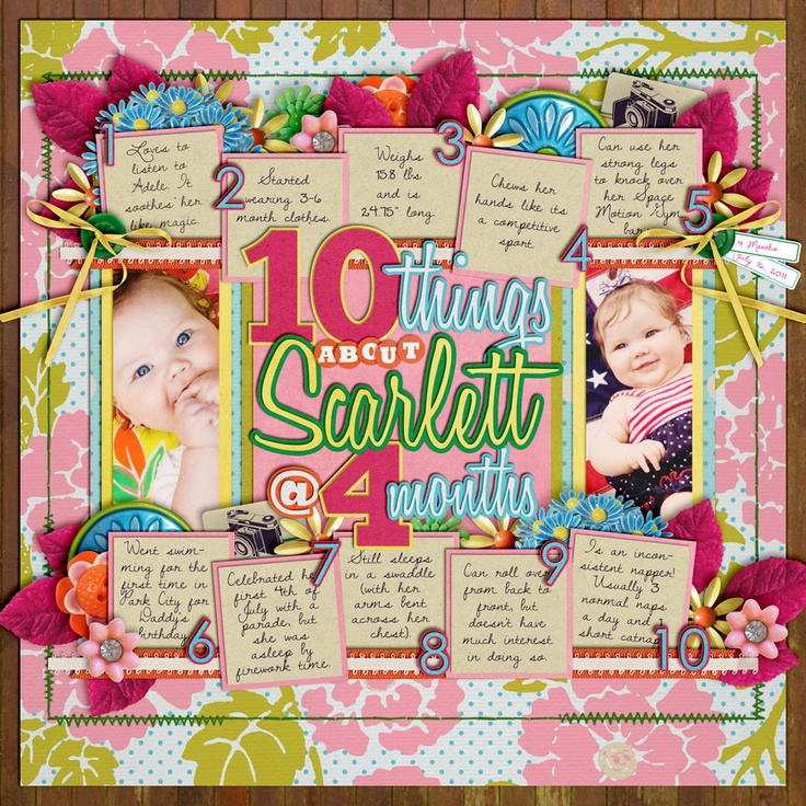 10 ThingsScrapbook Ideas, Baby Kids, Baby Theme, Kids Things, Scrapbook Stuff, Digital Scrapbook, 10 Things, Scrapbook Layout, Scrap Book