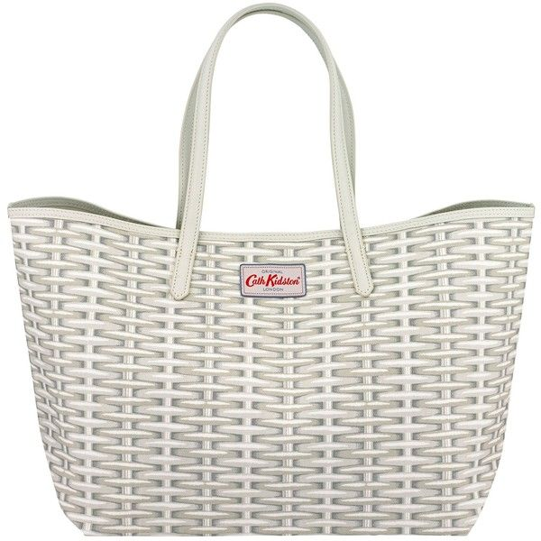 Cath Kidston Wicker Large Leather Trim Tote, White ($42) ❤ liked on Polyvore featuring bags, handbags, tote bags, leather handbags, white leather tote, leather purse, white purse and summer totes