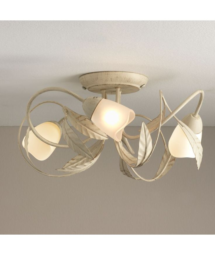 Buy Elana 3 Light Semi Flush Ceiling Fitting - Cream and Gold at Argos.co