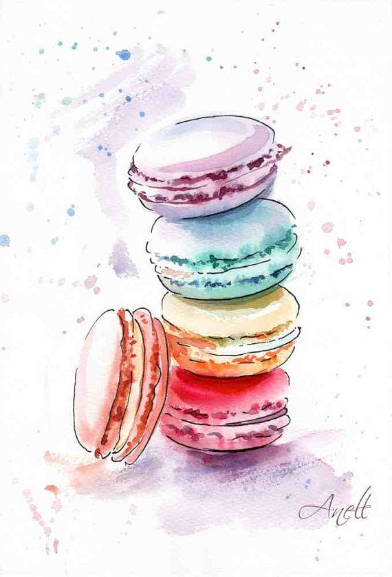 Macaroons watercolor Print Watercolor Painting Wall Decor