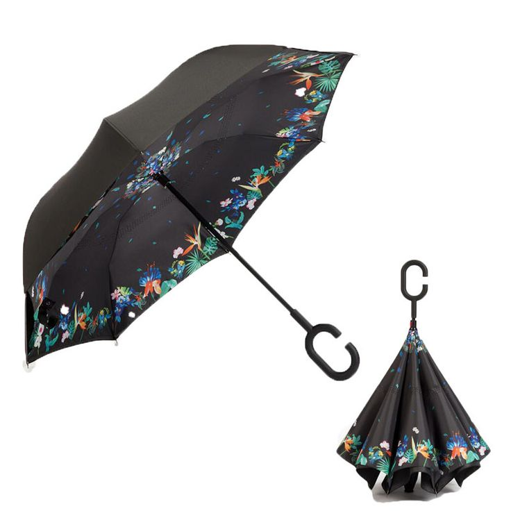 Reverse Windproof Double Layer Inverted Umbrella With C-Hook Handle