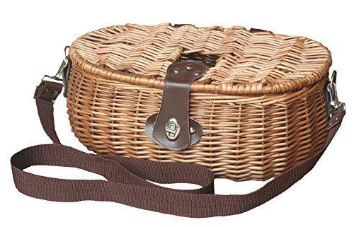 Comprar carrete de mosca Rojo cesta mimbre cesta para aparejos de pesca color marrón