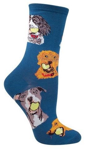 Fetch! No, not a tennis ball… a pair of these fun ball dog socks that will have you wagging your tail in delight. Have a dog? Pay homage to your favorite breed by proudly wearing them on your paws. No