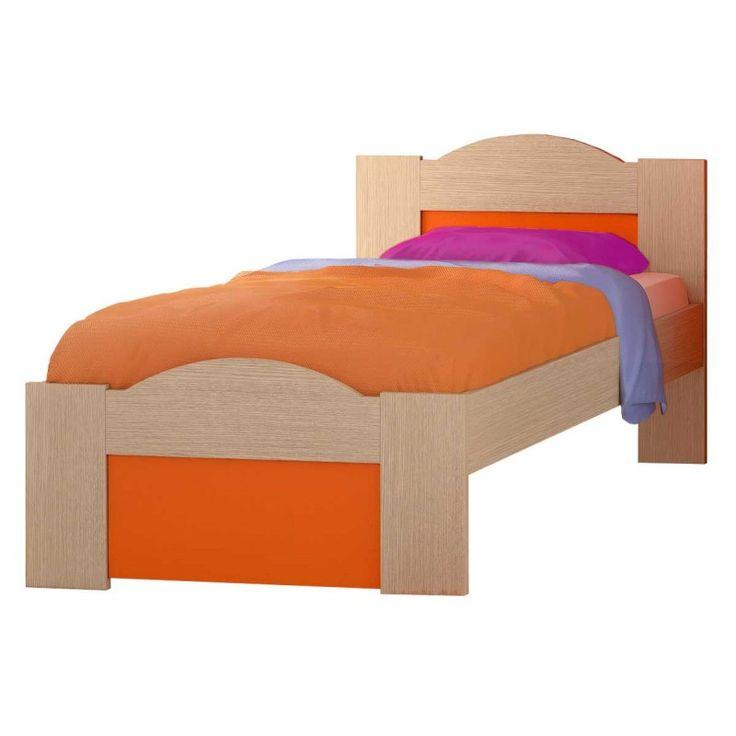 """Παιδικό κρεβάτι μονό """"ΚΥΜΑ"""" δρυς-πορτοκαλί 90x190εκ."""