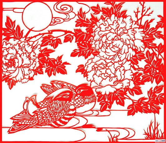 A Chinese paper cut with landscape theme.