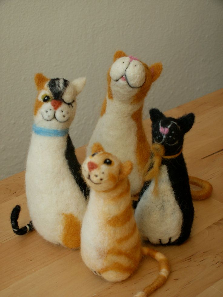Needle Felted Cat Family