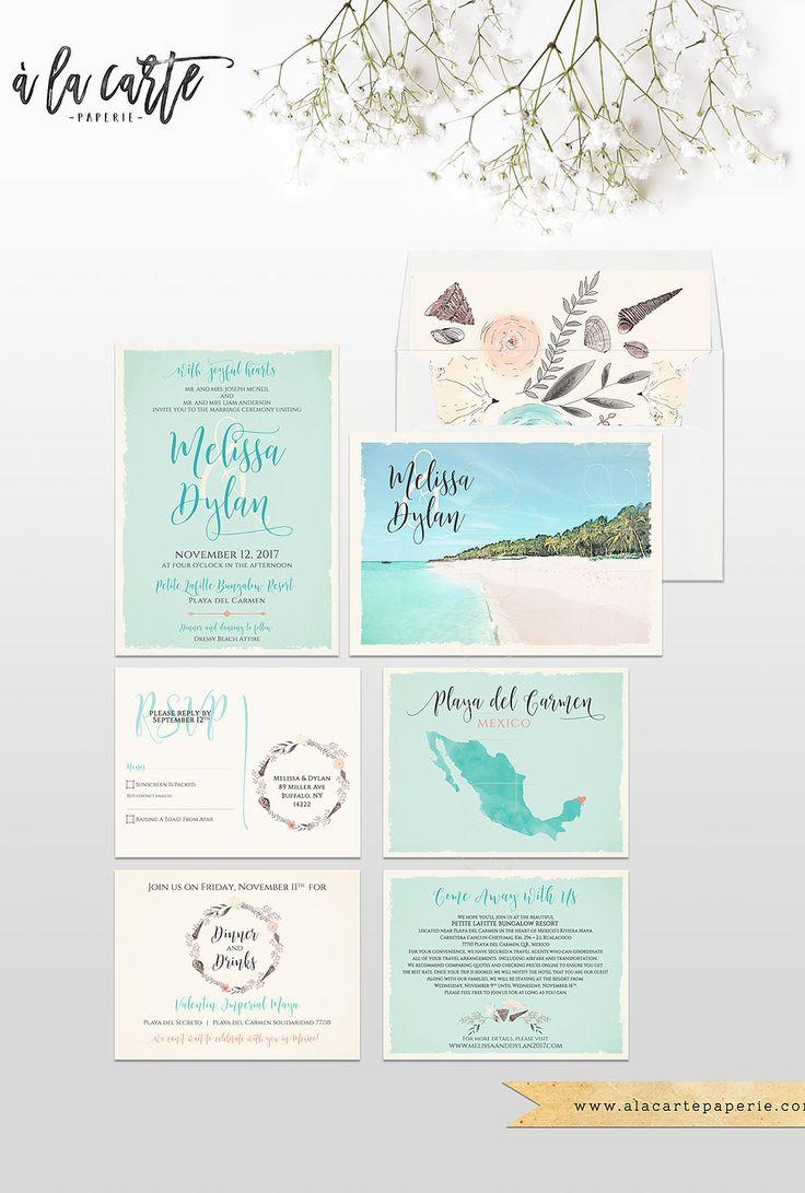 Beach Mexico Destination Wedding Invitation Set Playa Del Carmen Wedidng