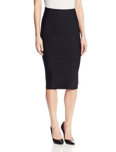 BCBGMAXAZRIA-Women-039-s-Leger-Mid-Length-Knit-Pencil-Skirt-Black-Small-New