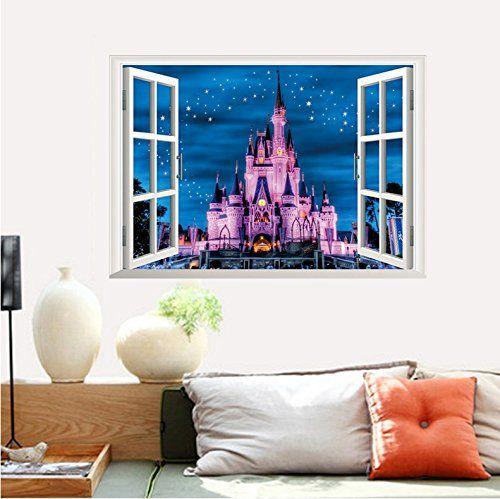 Amazon|【ディズニ― プリンセス シンデレラ城ウインドタイプ】 Disney Princess  Disney castlesウォールステッカー ウォール ステッカー ポスター シール 北欧 激安 貼って はがせる 壁紙 壁シール 子供部屋【CG|ウォールステッカー オンライン通販